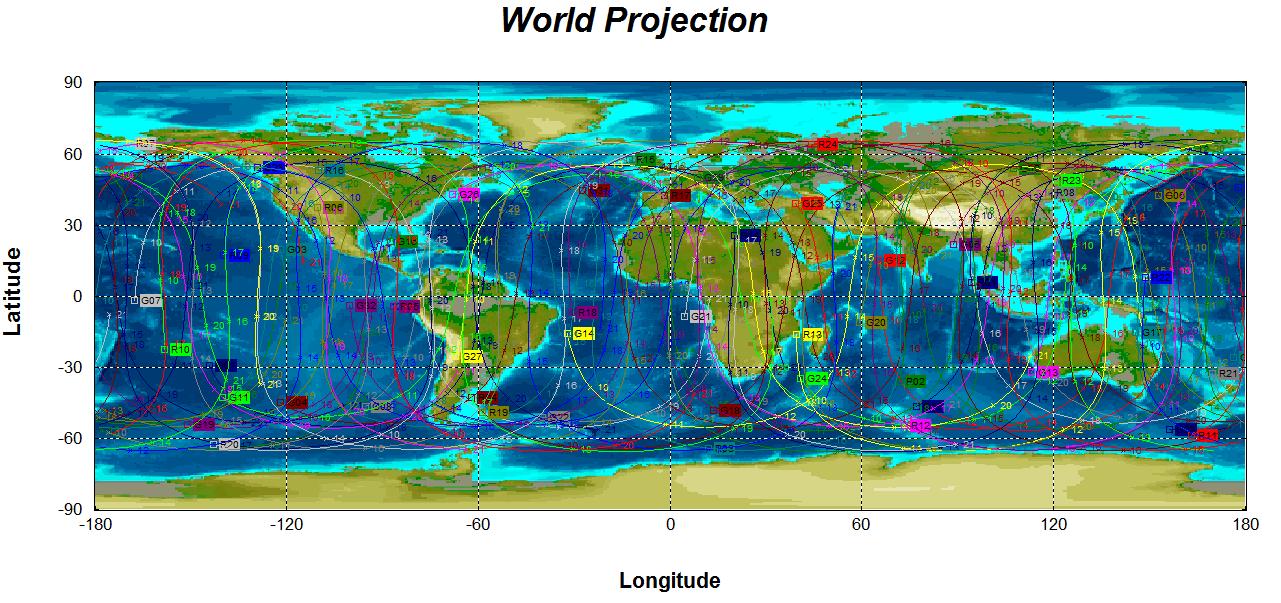 карта расположения орбит прохождения спутников